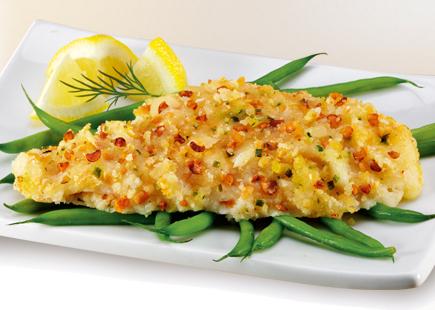 sea cuisine Almond crusted flounder
