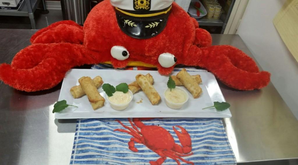 shrimp and wasabi crab roll ups